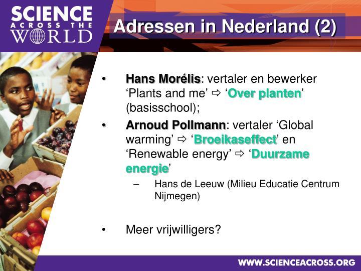 Adressen in Nederland (2)