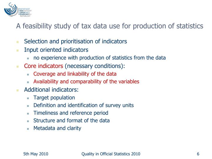 A feasibility study of tax data use for production of statistics
