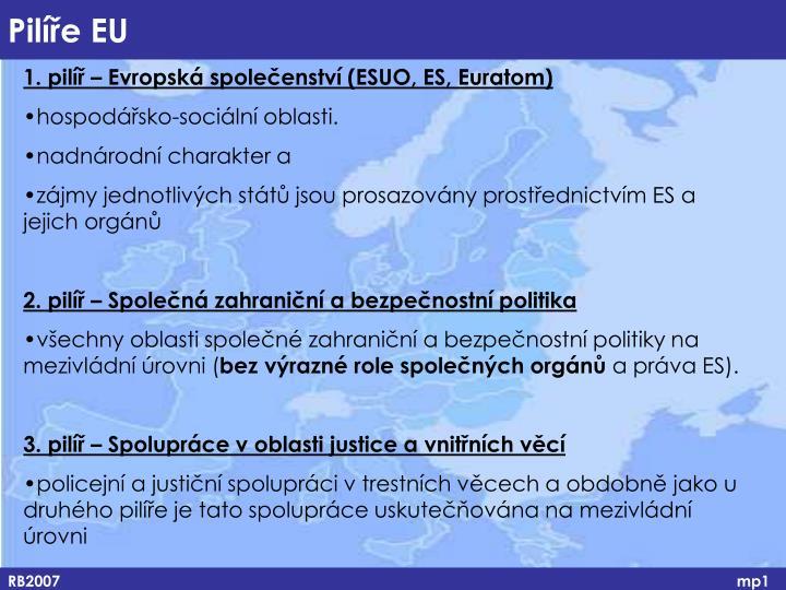 1. pilíř – Evropská společenství (ESUO, ES, Euratom)