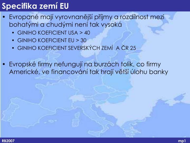 Specifika zemí EU