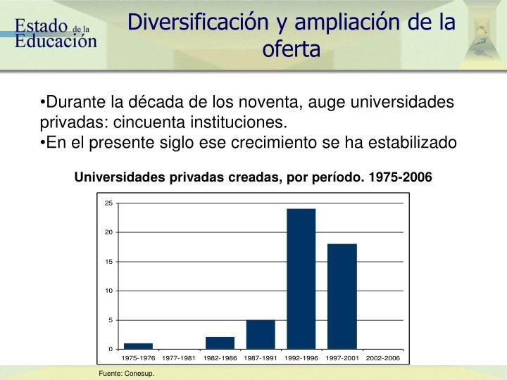 Diversificación y ampliación de la oferta