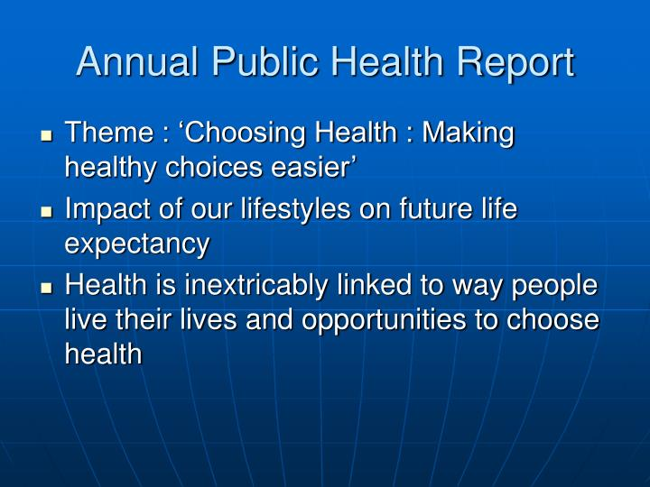 Annual public health report
