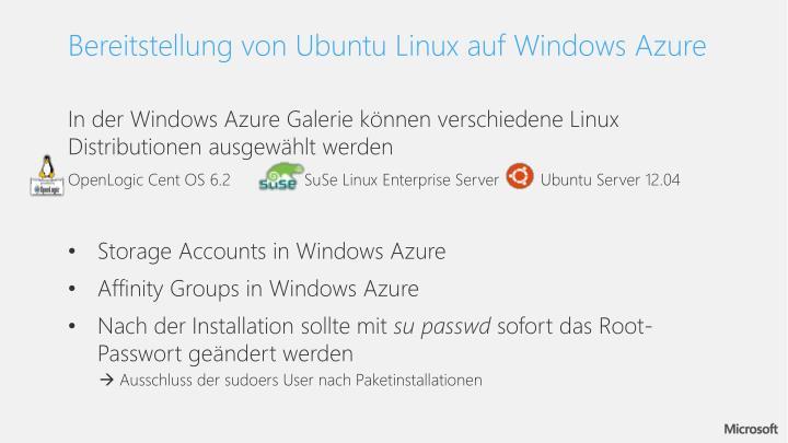 Bereitstellung von Ubuntu Linux auf Windows