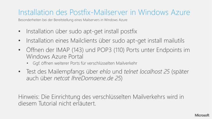Installation des Postfix-Mailserver in Windows