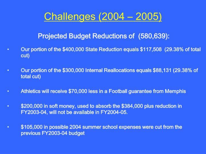 Challenges (2004 – 2005)