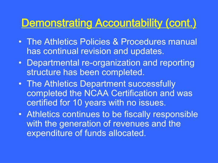 Demonstrating Accountability (cont.)