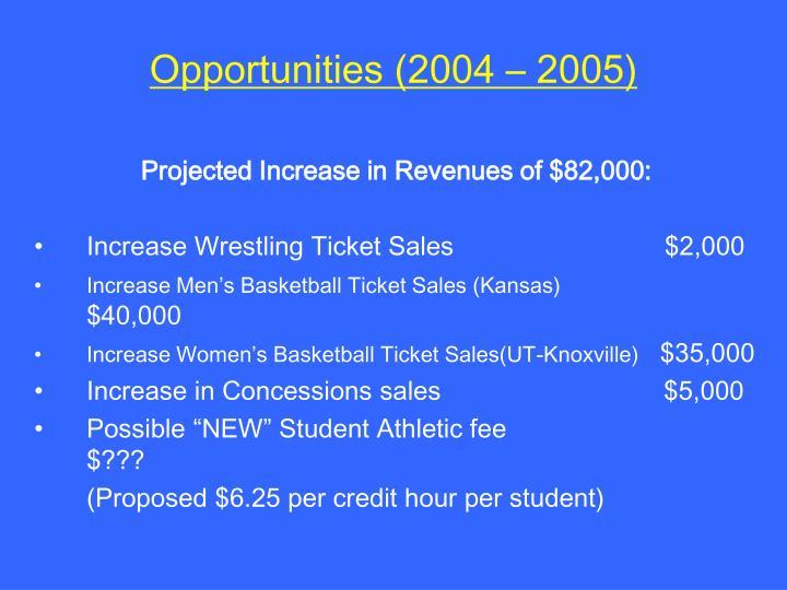 Opportunities (2004 – 2005)