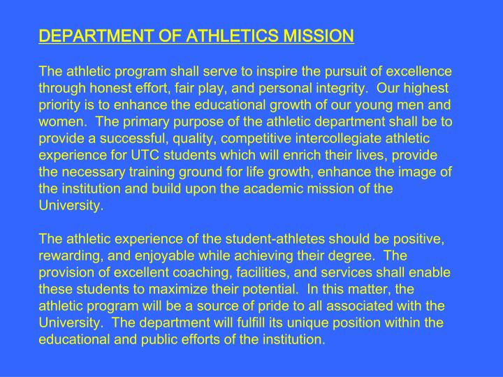 DEPARTMENT OF ATHLETICS MISSION