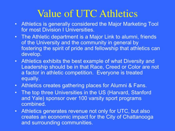 Value of UTC Athletics