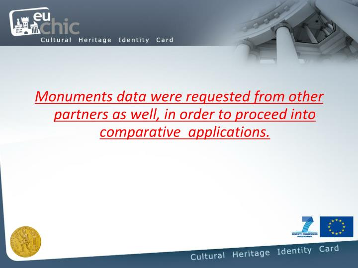Monuments data were requested from other partners as well, in order to proceed into comparative  applications.