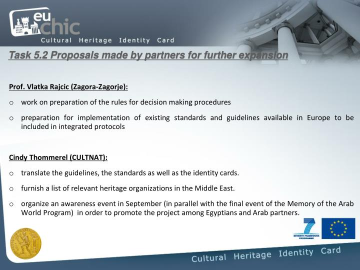 Task 5.2 Proposals made by partners for further expansion