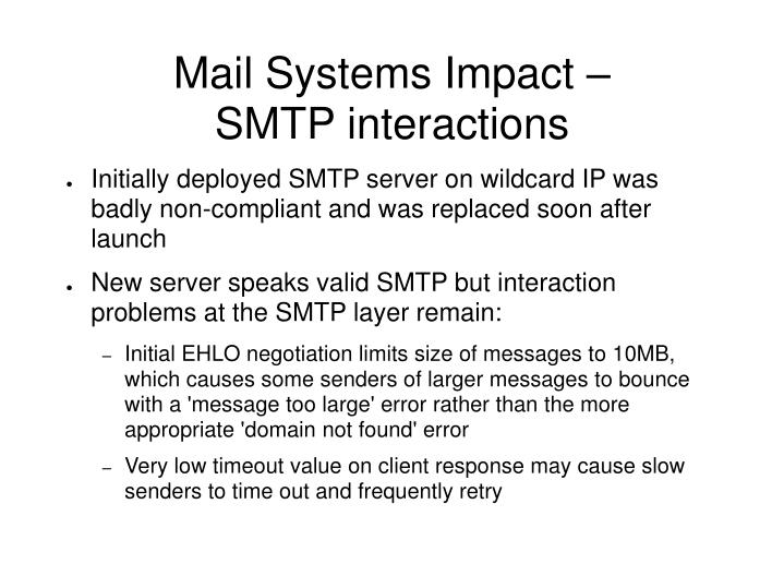 Mail Systems Impact –