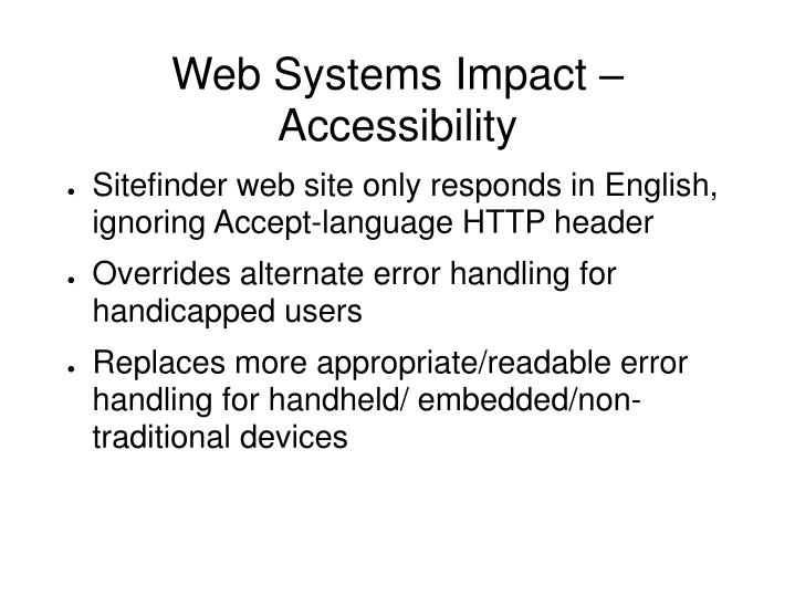 Web Systems Impact – Accessibility