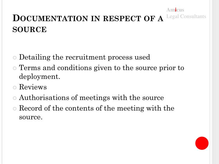 Documentation in respect of a source