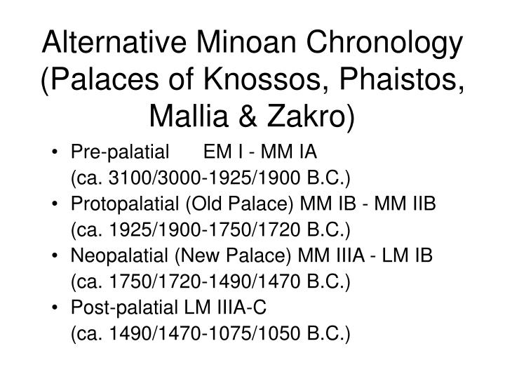 Alternative Minoan Chronology (Palaces of Knossos, Phaistos, Mallia & Zakro)