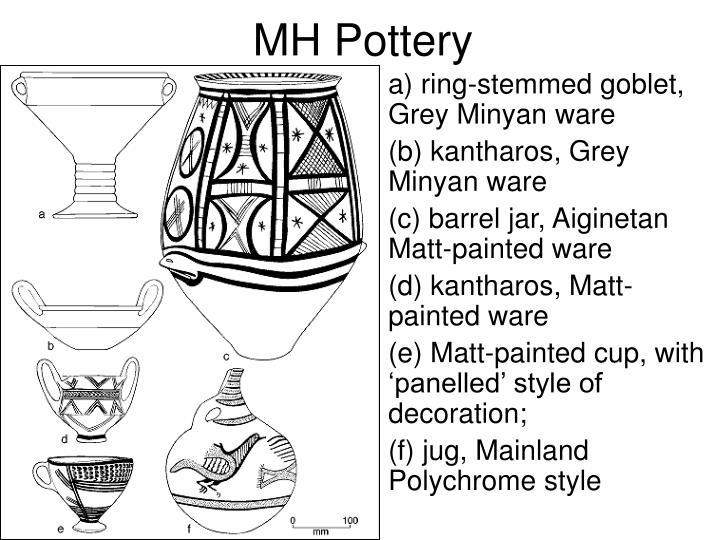 a) ring-stemmed goblet, Grey Minyan ware