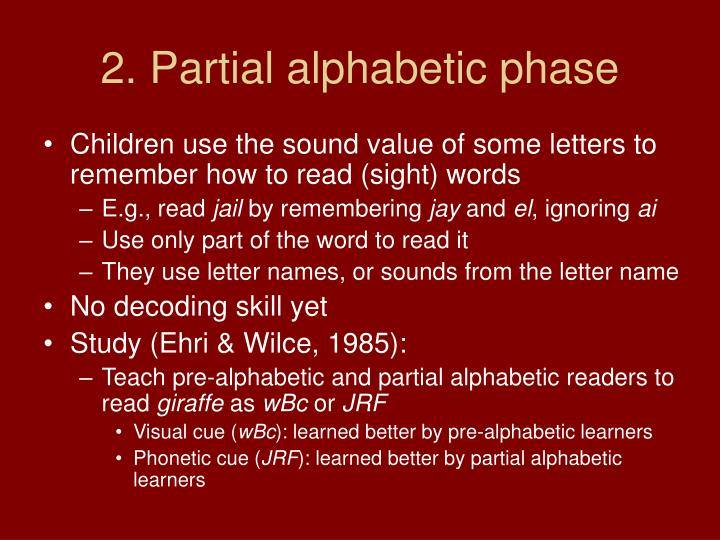 2. Partial alphabetic phase