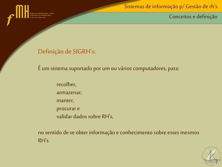 Sistemas de informação p/ Gestão de rh's