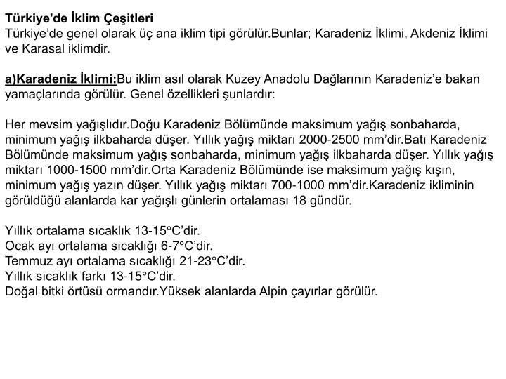 Türkiye'de İklim Çeşitleri