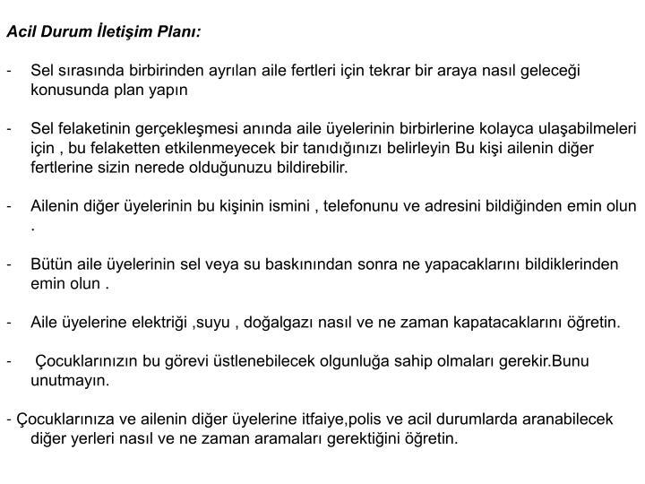 Acil Durum letiim Plan: