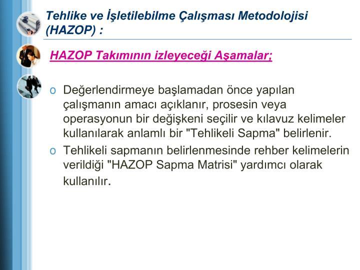Tehlike ve İşletilebilme Çalışması Metodolojisi (HAZOP) :