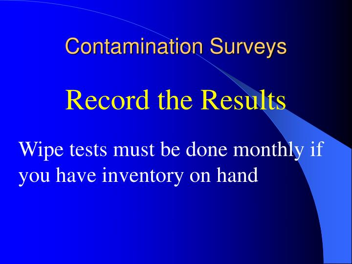 Contamination Surveys