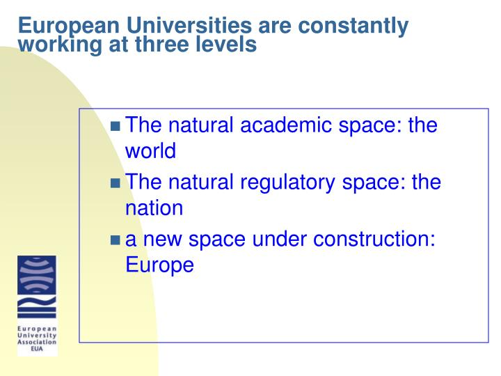 European universities are constantly working at three levels