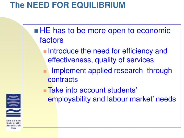 The NEED FOR EQUILIBRIUM