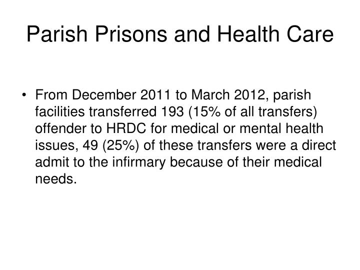Parish Prisons and Health Care