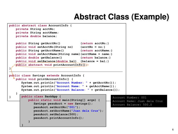 Abstract Class (Example)