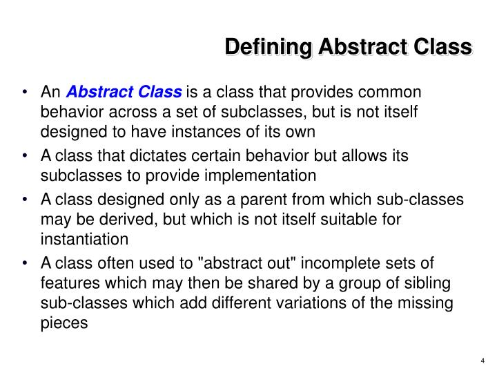 Defining Abstract Class
