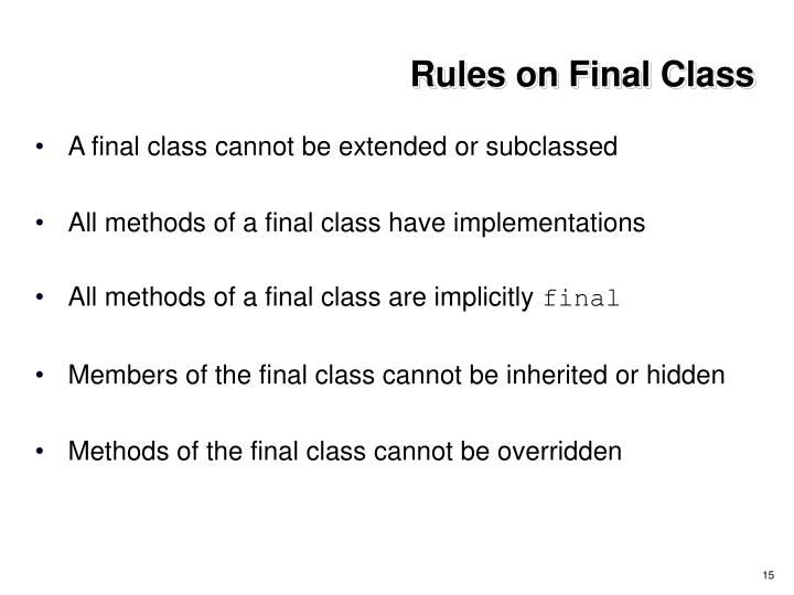 Rules on Final Class