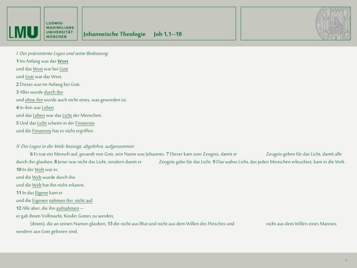 Johanneische Theologie       Joh 1,1–18