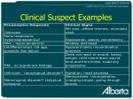 clinical suspect examples