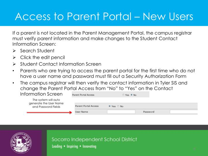 Access to Parent Portal – New Users