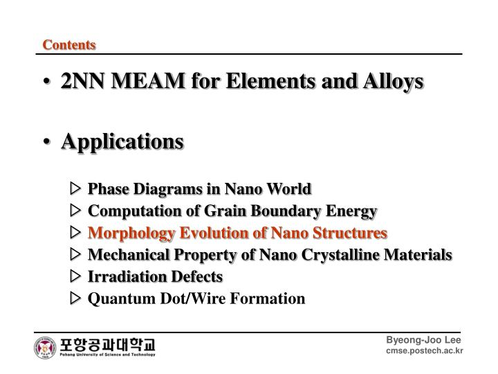 2NN MEAM for Elements and Alloys