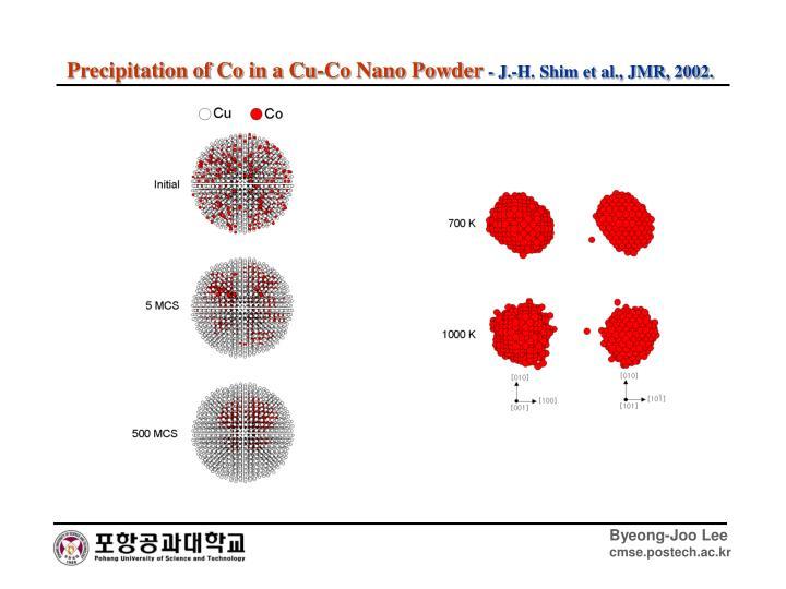 Precipitation of Co in a Cu-Co Nano Powder