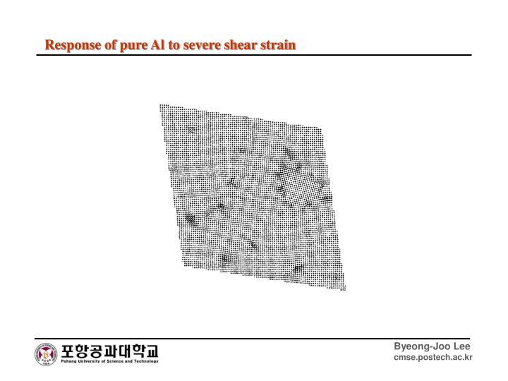 Response of pure Al to severe shear strain