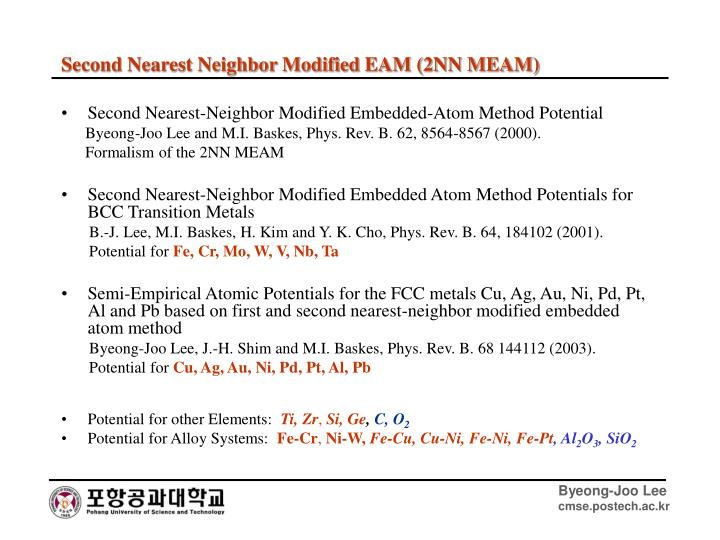 Second Nearest-Neighbor Modified Embedded-Atom Method Potential