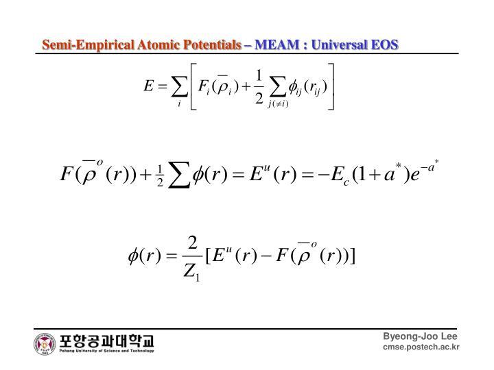 Semi-Empirical Atomic Potentials