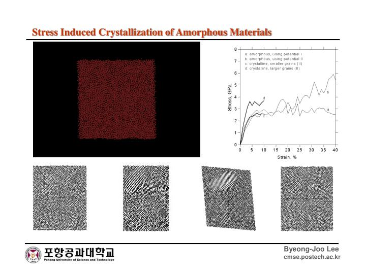 Stress Induced Crystallization of Amorphous Materials