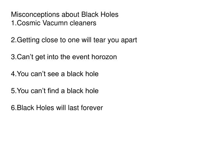 Misconceptions about Black Holes