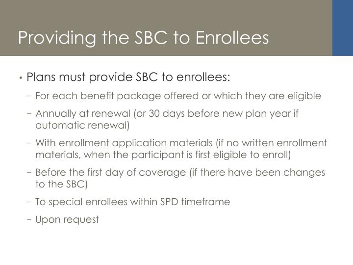 Providing the SBC to Enrollees