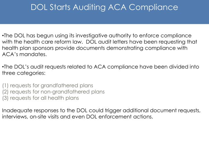 DOL Starts Auditing ACA Compliance
