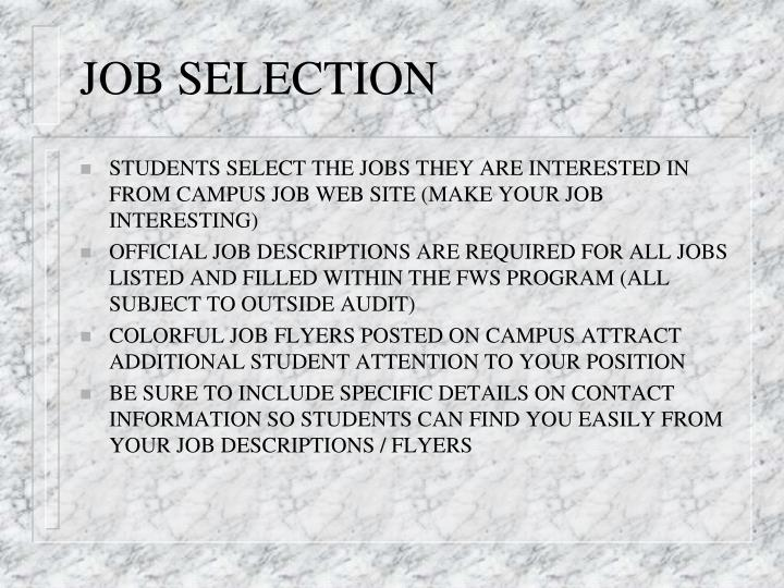 JOB SELECTION