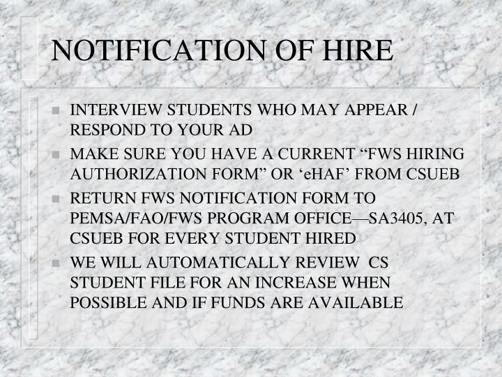 NOTIFICATION OF HIRE