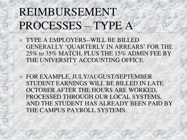 REIMBURSEMENT PROCESSES – TYPE A