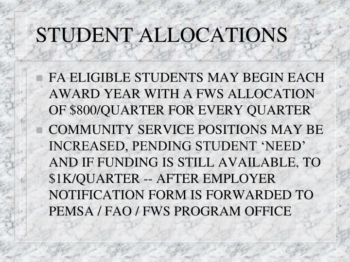 STUDENT ALLOCATIONS