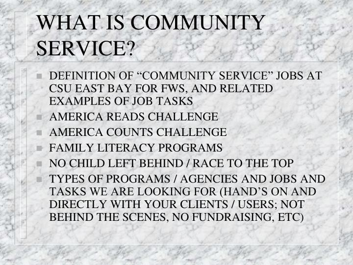 WHAT IS COMMUNITY SERVICE?