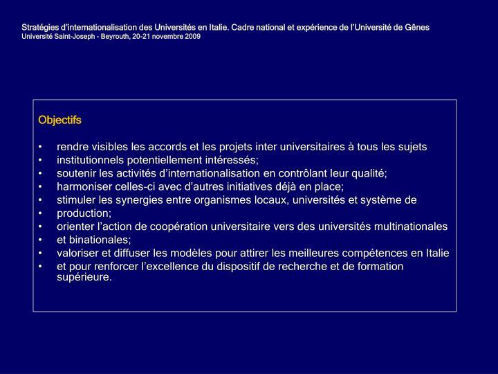 Stratgies dinternationalisation des Universits en Italie. Cadre national et exprience de lUniversit de Gnes